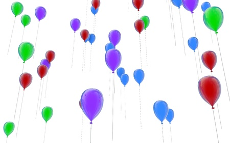 Balloons fly up upwards photo
