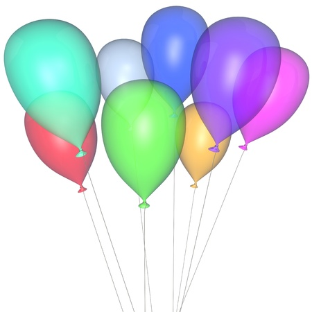 Transparent multi-coloured balloons on a white background photo