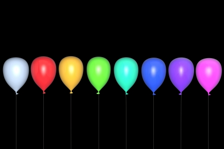 Multi-coloured balloons on a black background photo