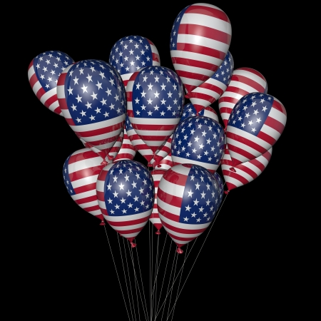 Balloons with the image of a flag of America on a black background photo