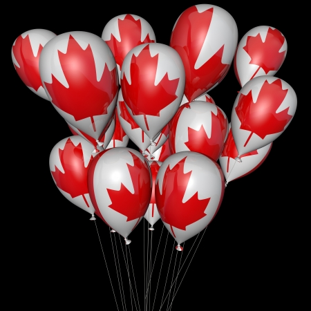 Balloons with the image of a flag of Canada on a black background photo