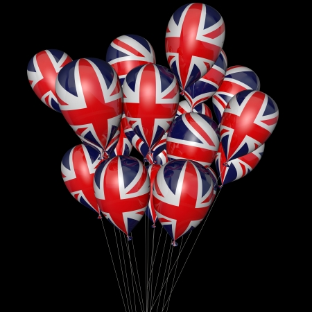 Balloons with the image of a flag of England photo