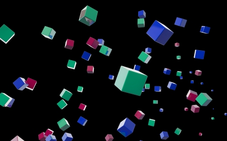 Abstract cubes in flight photo