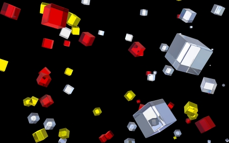 Abstract glass cubes in flight photo