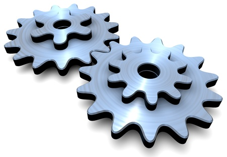 Two gears on a white background photo