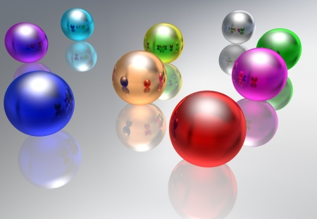 Abstract multi-coloured glass spheres on a reflecting background photo
