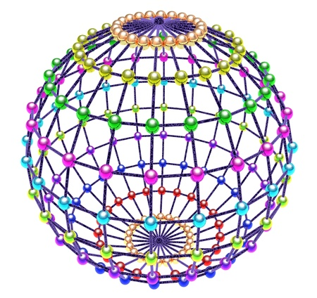 Abstract multi-coloured glass spheres located on sphere photo