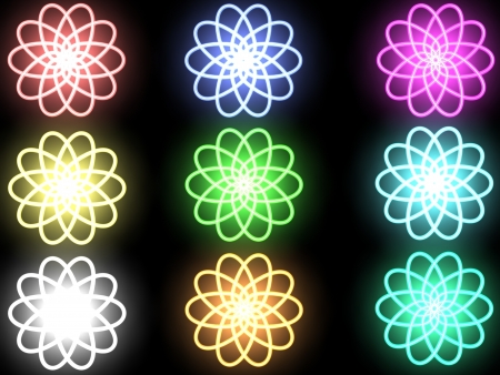 Abstract shone flowers on a black background