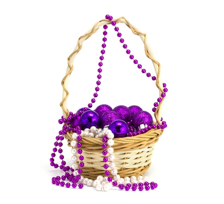 Toys in a basket on the white isolated background Stock Photo
