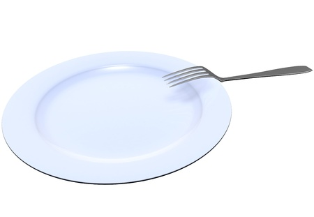 The fork lies on a dark blue plate on the white isolated background Stock Photo
