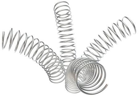 twirled: 4 metal springs are bent every which way