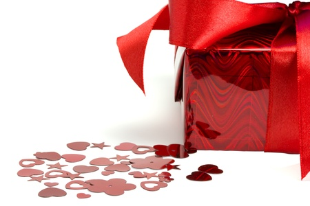 Gift and hearts isolated on white background Stock Photo - 17279336