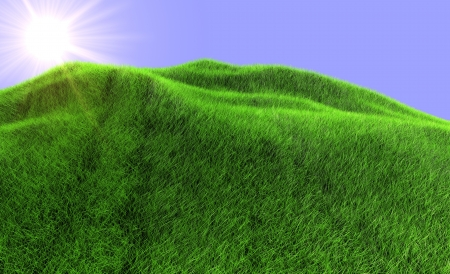 The sun rises because of mountain the covered green grass photo