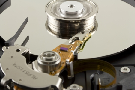 Hard disk from within close up Stock Photo