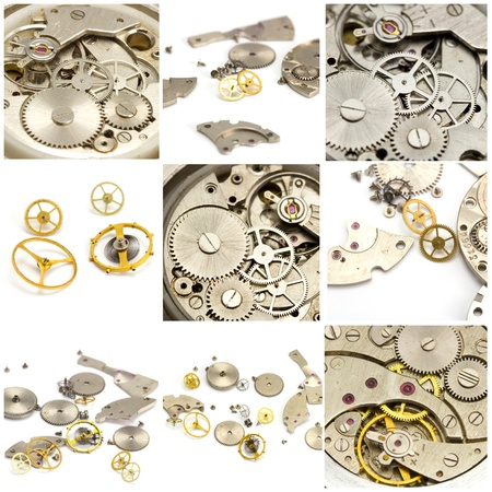 Collage. Watch and clock mechanism close up photo