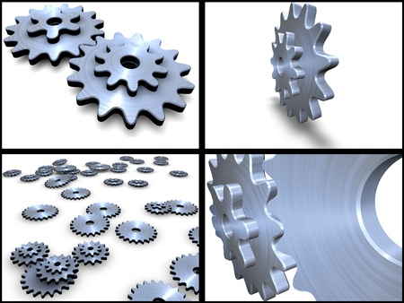 Collection. Metal gears isolated on white background photo
