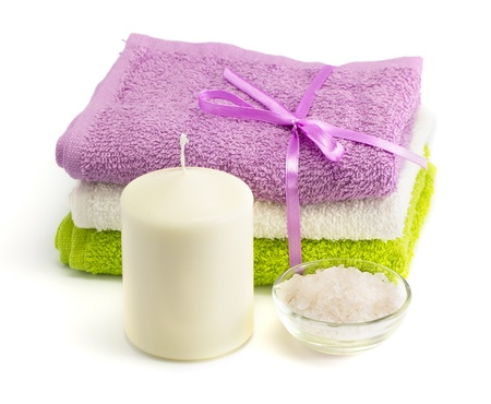 Spa accessories on the white isolated background