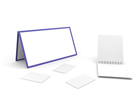 Calendar, notebook and cut-aways on the white isolated background Stock Photo