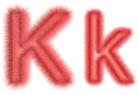 hair tuft: Symbol K from wool on the white isolated background