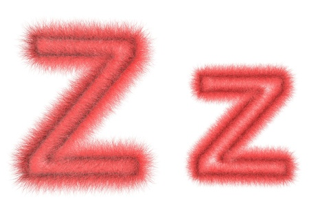 hair tuft: Symbol Z from wool on the white isolated background