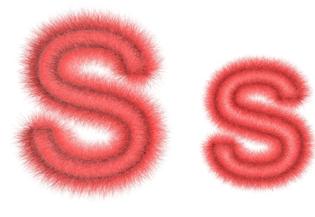 hair tuft: Symbol S from wool on the white isolated background Stock Photo