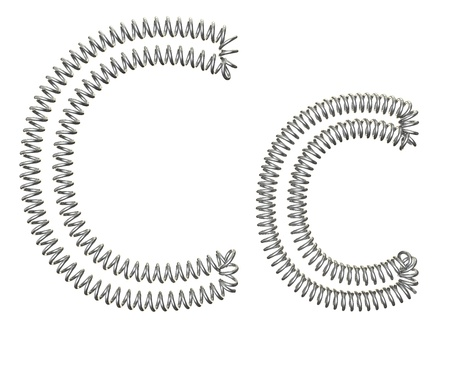 metal spring: The C of a metal spring isolated on white background Stock Photo