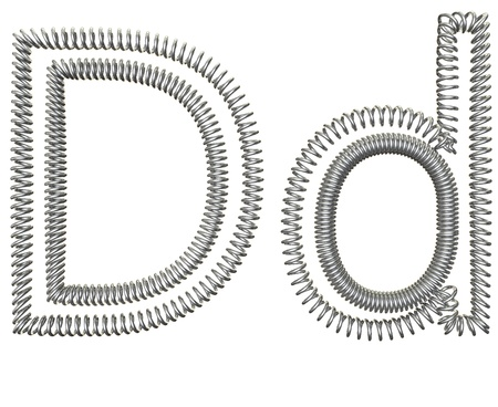 metal spring: The D of a metal spring isolated on white background