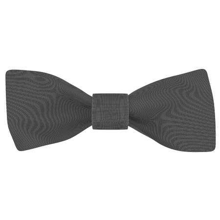 Black bow on a white fabric background isolated photo