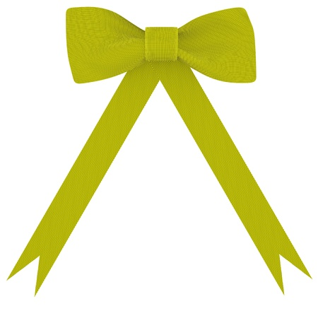 Yellow bow on a white fabric background isolated
