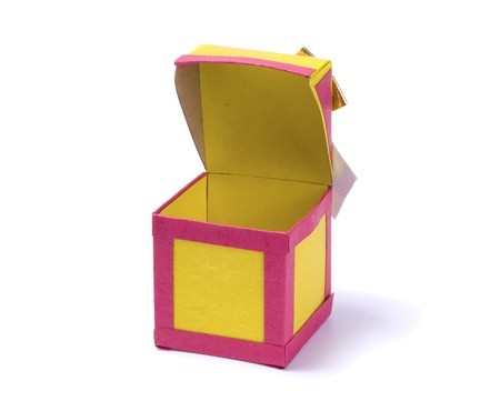Handmade paper box isolated on white background Stock Photo