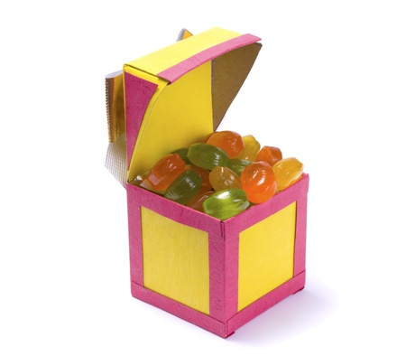 Handmade paper box with candy isolated on white background Stock Photo