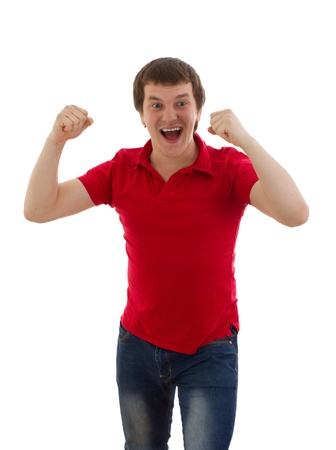 A man shows the joy isolated on white background