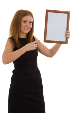 The lady is holding a wooden frame isolated on white background