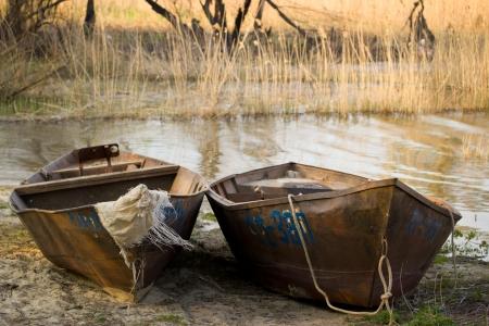 mauritius: Twee oude boot op de rivier