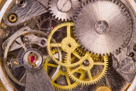 clock gears: Clockwork close-up Stock Photo