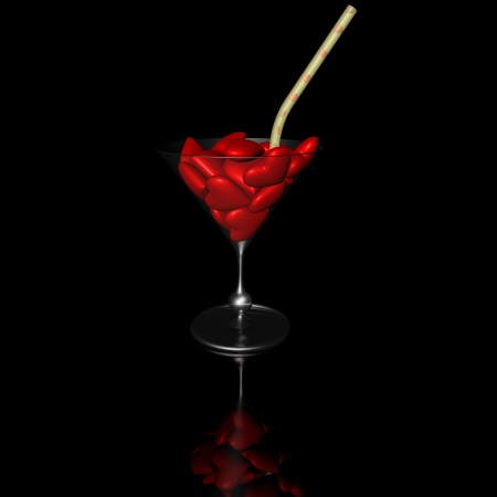 Cocktail of hearts on a black background