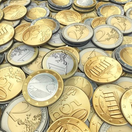 Background from euro coins Stock Photo