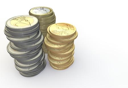 Euro a coin piled Stock Photo
