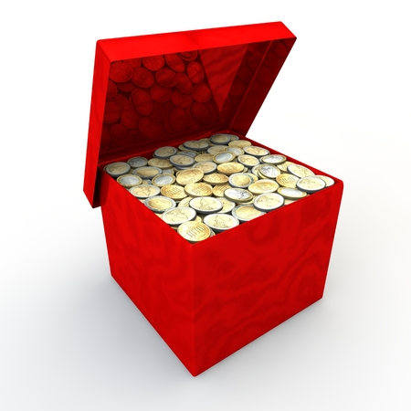 Red marble casket with coins on a white background photo