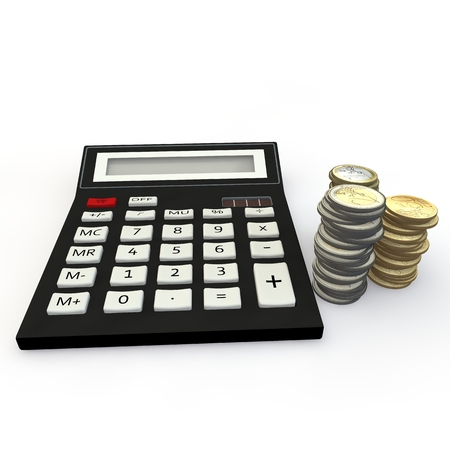The calculator and euro a coin on a white background