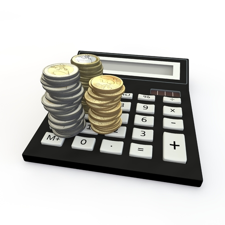 maths department: The calculator and euro a coin on a white background