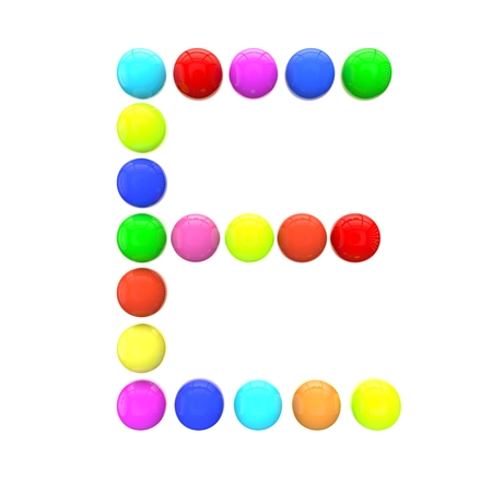 green been: Letter E from multi-colored spheres Stock Photo