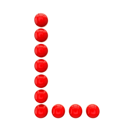 l red: Letter L from red spheres Stock Photo
