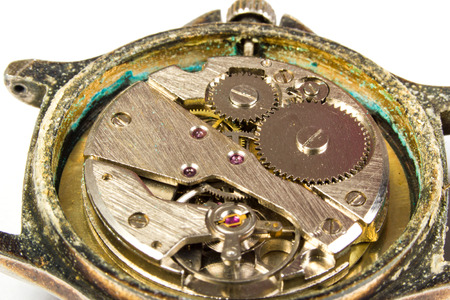 escapement: Mechanism of a watch macro scale Stock Photo