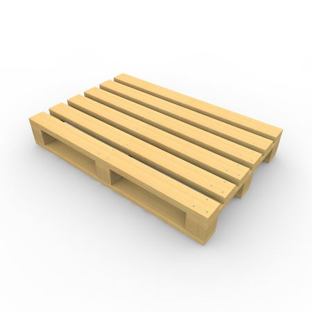 The wooden pallet on the isolated white background photo