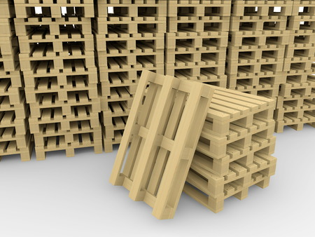 Background from the stored wooden pallets photo