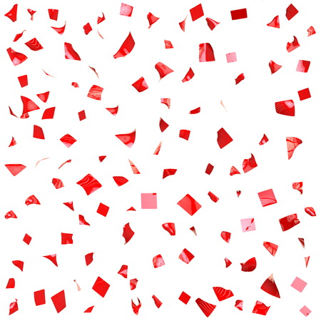 Texture of red shiny pieces of paper. Isolated background photo