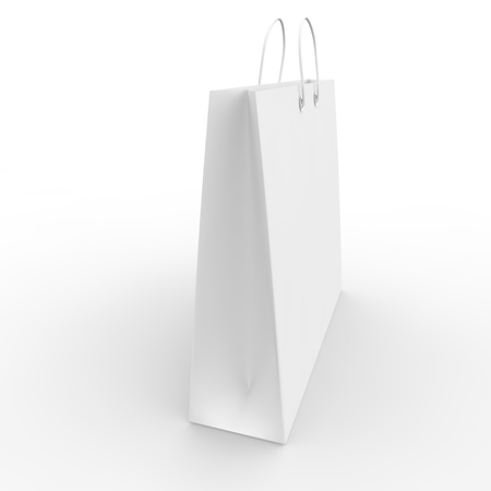 ample: White blank sample bags for goods and products Stock Photo