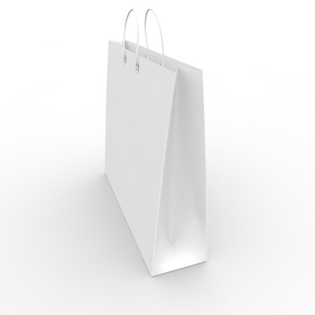 White blank sample bags for goods and products Stock Photo