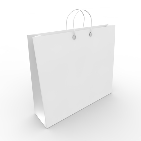 white goods: White blank sample bags for goods and products Stock Photo